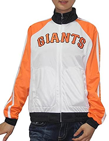 MLB Womens San Francisco Giants Zip-Up Track Jacket with Embroidered Logo S White