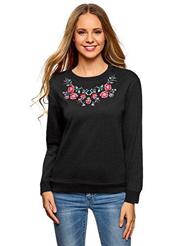 oodji Ultra Damen Baumwoll-Sweatshirt mit Stickerei, Schwarz, DE 32 / EU 34 / XXS