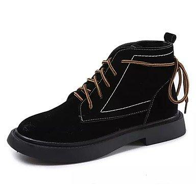 Rtry Femmes Chaussures Pu Similicuir Daim Printemps Automne Dans Le Confort De Bottes De Mode Bottes Talon Plat Bout Rond Bottes Mid-calf Lace-up Pour Armée Casual Us6.5-7 / Eu37 / Uk4.5-5 / Cn37