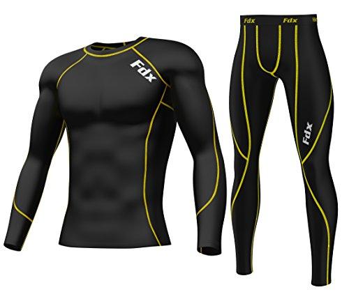 FDX Herren Kompressions-Shirt und Kompressions-Leggings, Unterwäsche zum Laufen, eng-anliegend. Größe L schwarz / gelb