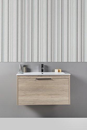 Mobilia, corda - mobile da bagno color legno, moderno, sospeso con cassettone 70 cm con lavabo