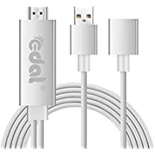 iPhone HDMI TV Cable, tracffy blanco Lightning a conector de adaptador de HDMI Full HD 1080p para iphone 7 plus 6s 6s Plus, 6, 6 plus, 5 5 C 5S se, iPad Aire/Mini/Pro (Plug and Play)