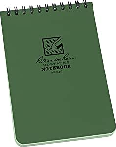 Rite in the Rain Universal Pocket Top Spiral Notebook - Green/Green, 3 x 5 Inch
