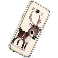 Handytasche Samsung Galaxy J7 2016 Weihnachten Handyhülle Durchsichtig Schutzhülle Silikon Dünn Case Transparent Handyhüllen Kirstall Clear Case Etui TPU Bumper Schale,Braun Hirsch