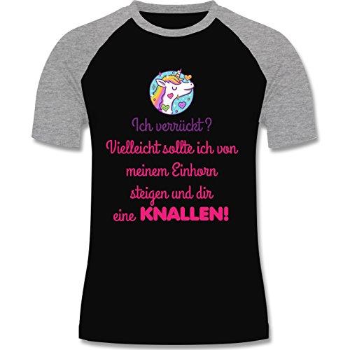Comic Shirts - Ich verrückt? - zweifarbiges Baseballshirt für Männer Schwarz/Grau Meliert