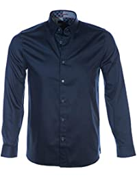 81b6f9842ae47 Ted Baker Mens Plateen Satin Stretch Shirt in Navy Blue