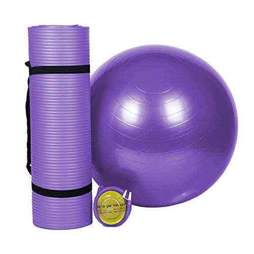Yongyong yoga mat yoga ball set allungato 183 * 61 * 1.0 cm insapore antiscivolo yoga mat ispessimento a prova di esplosione yoga palla fitness ball 55 cm accessori per macchine fitness