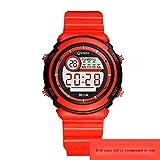 JHGFRT Elektronische Uhr Junge Mädchen Wasserdicht Multifunktions- Digitaluhr Leuchtend Wecker Schulkind Kinder Uhr,Red