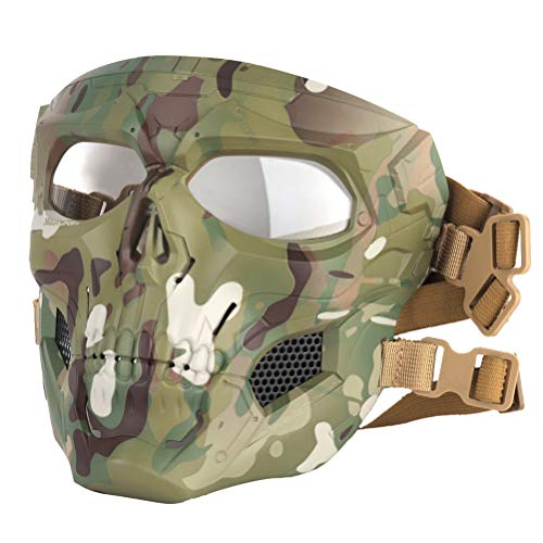 BYJIN Halloween Skeleton Airsoft Maske, Schädel Schutzmaske, Cool Skull Half Face Camouflage Army Equipment Maske, Helm mit Schwammpolster und Stirnbandseil, Geeignet für Game Party, Cs War Play