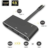 Splaks USB C auf VGA HDMI Adapter 5 in 1 USB 3.1 Typ C zu 1080P VGA 4K HDMI mit PD Laden 3.5mm Audio USB 3.0 für MacBook Pro MacBook Air Galaxy S8/S9/+ MateBook alle Typ C Geräte