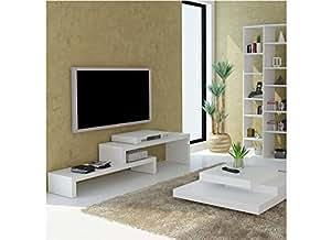 Meuble tv design en gigogne SKIEN Blanc 125 cm