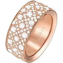 ESPRIT Glamour Damen-Ring ES-MEGARA ROSE teilvergoldet Zirkonia transparent - ESRG02347C1