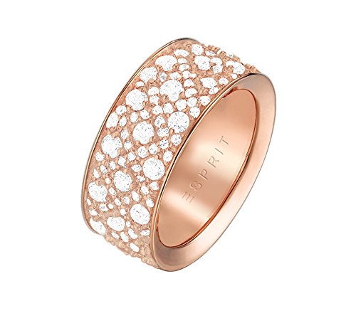 ESPRIT Glamour Damen-Ring ES-MEGARA ROSE teilvergoldet Zirkonia transparent Gr. 53 (17.2) - ESRG02347C170