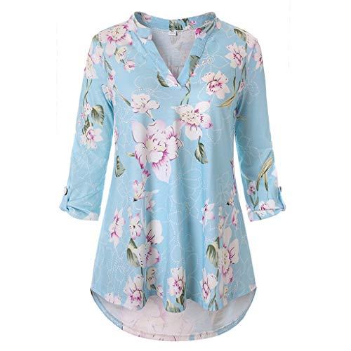 T-Shirt Bluse Damen Shirt Xjp Frauen Mode V-Ausschnitt Gedruckt Vintage Lose Oberteile Bauchfrei Unregelmäßig 3/4 Ärmel Tunika Tops Hemd(XL, Hellblau) - Ärmel Gedruckt Tunika