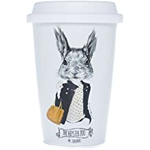 La Cija The Hipster Zoo Ms. Squirrel - Vaso americano de porcelana con tapa de silicona, color blanco