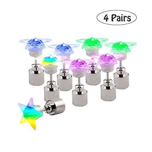 LED Ohrringe, 4 Paare von Einer Packung, Party Bar Halloween Mehrfarbige Lichter, Super Helle Edelstahl Stern Ohrstecker