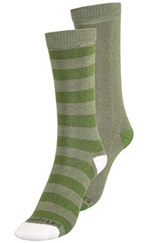 Trocken Twin-packs (Craghoppers NosiLife Travel Socks Kids Twin Pack Dark Khaki/Spiced Lime Plain & Stripe Schuhgröße 11-2   EU 29-35 2019 Socken)