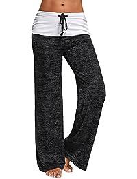GAMISS Mujer Pantalones Anchos de Pierna Largo Cintura Media Pantalón Suave Yoga Fitness Deportes Tallas Grandes