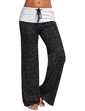 GAMISS Mujer Pantalones Anchos de Pierna Largo Cintura Media Pantalón Suave Yoga Fitness Deportes Tallas Grandes...