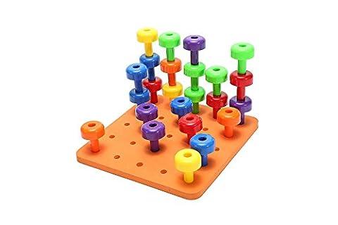 PowerLead Ensemble de cartes Peg - Montessori Traitement professionnel Jouet à moteur fin pour les tout-petits et les enfants d'âge préscolaire avec 30 pistes en carton pour la reconnaissance des couleurs Tri et comptage
