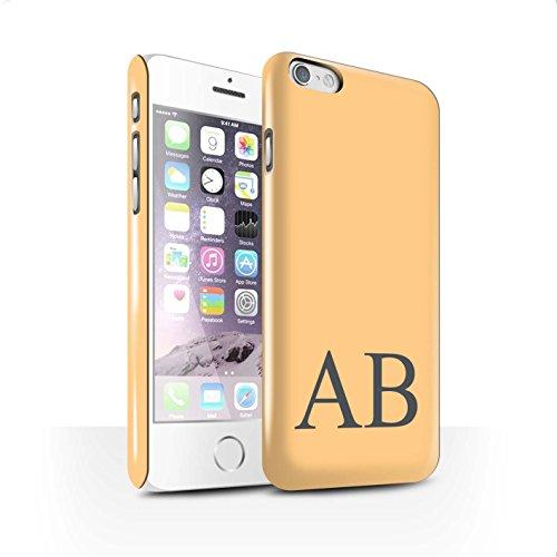 Personalisiert Pastell Monogramm Glanz Hülle für Apple iPhone 6S / Grünes Design / Initiale/Name/Text Snap-On Schutzhülle/Case/Etui Orange