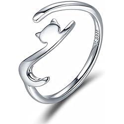 Anillo de plata esterlina Qings 925, Ajustable Abierto Gato Estilo anillo Joyería de moda para Chica adolescente regalo tamaños universales