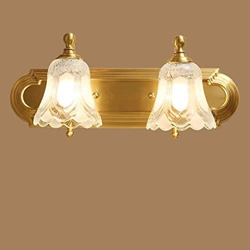 nouler Spiegel der Spuren vor voller Ether Kupfer Badezimmer Doppel Lichter Wand Lampe Kopf Bad Zimmer DREI ländlichen Gebieten Wärme Pastorale der Beleuchtung (Stil: DREI Kopf),Doppelter Kopf -