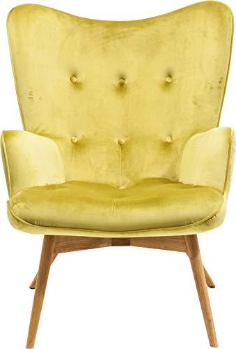 Kare Design Sessel Vicky Velvet, samtiger Loungesessel, TV-Sessel mit hellem Holzgestell, Grün (H/B/T) 92x59x63cm
