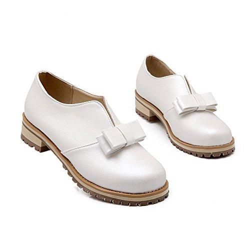 VogueZone009 Femme à Talon Bas Matière Souple Couleur Unie Tire Rond Chaussures Légeres Blanc
