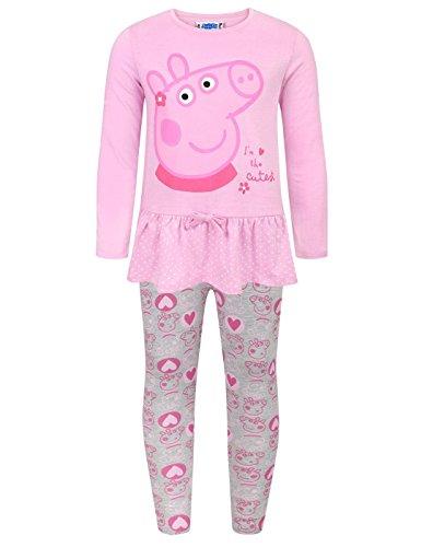 Peppa Pig - Set Leggings y Camiseta Modelo The Cutest para niñas (5-6 Años
