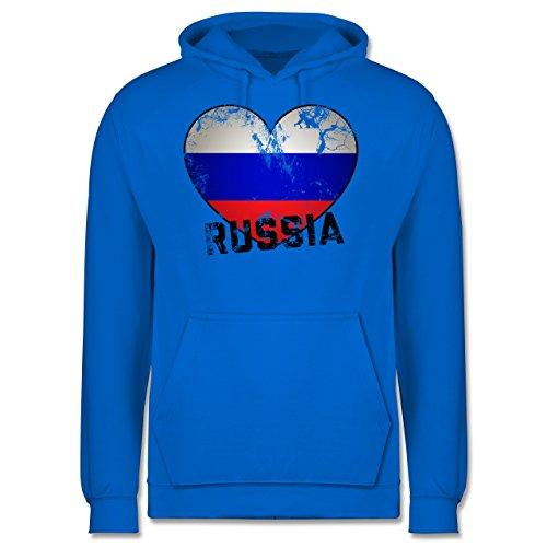 EM 2016 - Frankreich - Russia Herz Vintage - Männer Premium Kapuzenpullover / Hoodie Himmelblau
