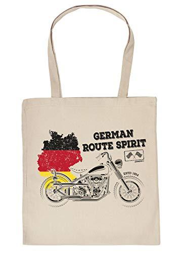 Biker-Motiv Baumwolltasche - Einkaufstasche Biker-Sprüche - Geschenktasche Mann : German Route Spirit - Motorrad Tragetasche - Farbe: Creme