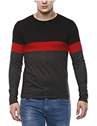 Urbano Fashion Men's Black, Red, Grey Round Neck Full Sleeve T-Shirt