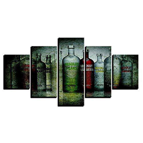 CYYCY Vlies leinwand Druck bilderrahmen wandkunst Arbeit Bild Home Decoration 5 stückKreative Mode Flasche Bier A - Mickeys Bier
