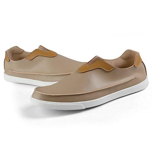 ... Homme Confort Sans Loafers on Microfibre Plat Slip Bateau Passant Chaussure  Lacet Mode Beige Basket Mocassin b5f36eed2f5e