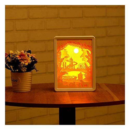 Skulpturen Home Decor (CX AMZ LED Tischleuchte, Schlafzimmer 3D Kinder Papier schnitzen Nachtlampe, USB-Lade-Home Decor Schreibtisch Lichter, Skulptur LED-Cartoon-Figur Schreibtischlampen, Valentines Papercut Geschenk)