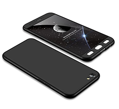 MEVIS Oppo F3 Plus Hülle,360 Grad hülle Fullbody case+(1*Hartglas Glasfilm Schutzfolie) 3 in 1 Ultra dünner pc Hardcase Scratch und Shockproof-Schwarz