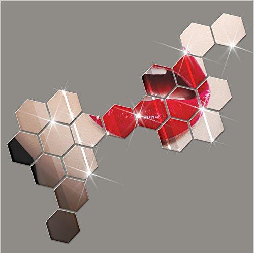 Demana 12 Stück Spiegel Hexagon Acryl Wandaufkleber Wand-Dekor DIY Wandtattoo für Zimmer Dekoration