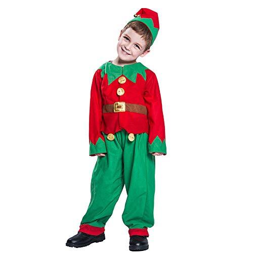 Kostüm Set Elf - CampHiking Kinder Weihnachten Elf Kostüm Kostüm Party Kostüm Set Mädchen Kinder Jungen Unisex Retro Elfen 3 Packungen Anzug Mütze + Top + Hose, Large