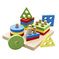 Lewo Educational Toys Wooden Geometric Shapes Block Board Stack Sort Chunky Puzzle for Toddlers