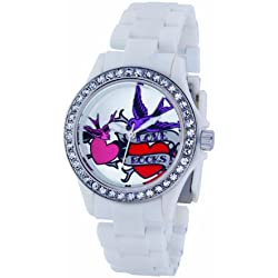 Pink Cookie Ladies Watch PCL-0009 with Silver Dial and White Plastic Strap
