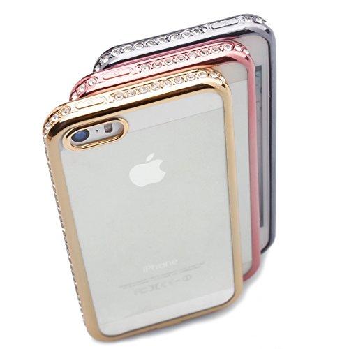 Apple iPhone SE / 5S / 5 | iCues Aurora Strass Chrom TPU Case Gold | Transparent Klarsichthülle Durchsichtig Klare Klarsicht Silikon Gel Strass Glitzer Glitter Luxus Bling Damen Frauen Mädchen Chrome  Pink
