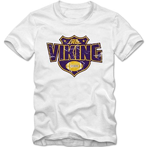 True Viking Premium T-Shirt American Football Super Bowl NFL Kinder Shirt, Farbe:Weiß (White L190k);Größe:10 Jahre (130-140 cm) (Minnesota Vikings-kinder T-shirts)