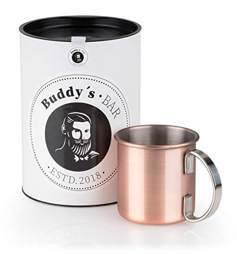 Buddy's Bar - 1 Gobelet Moscow Mule, 1 x 450ml, gobelet en Acier Inoxydable de Haute qualité avec revêtement en cuivre Style Antique, salubre pour Les Aliments, gobelet de Cocktail avec boîte Cadeau