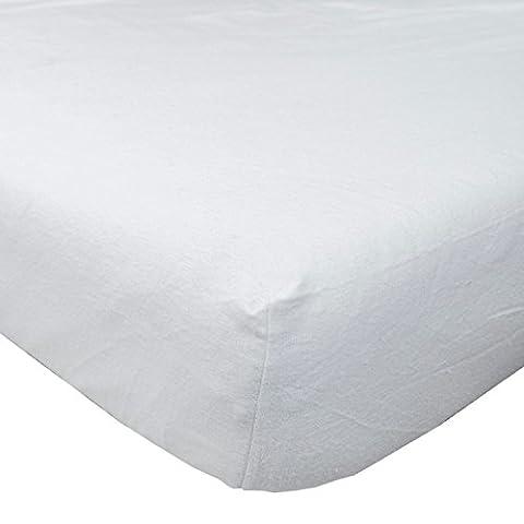 Homescapes - Drap-housse blanc en flanelle grand bonnet 180 g/m² - 140 x 190 cm