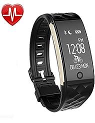 AsiaLONG Fitness Tracker mit Pulsmesser, Schrittzähler Uhr Fitness Armband Wasserdicht Aktivitätstracker mit Schlafmonitor, herzfrequenz, Kalorienzähler, Vibrationsalarm Anruf SMS Whatsapp Beachten mit IOS Android Smartphones (Upgrade Version)
