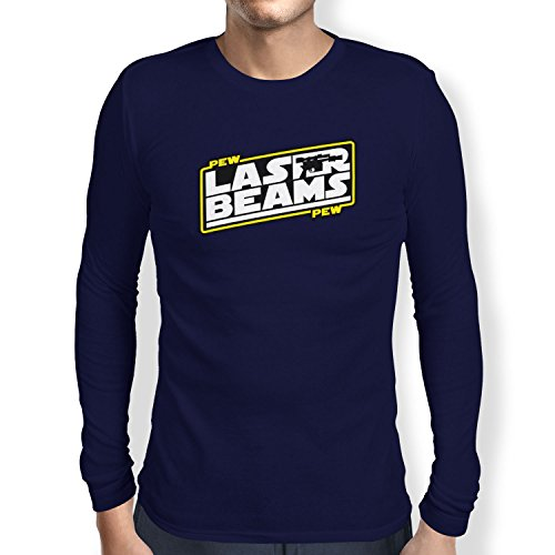 TEXLAB - Pew Pew Laser Beams - Herren Langarm T-Shirt Navy