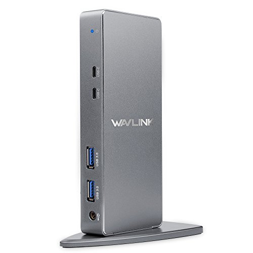 Wavlink USB C & USB A Universelle 5K HD Laptop Docking Station mit Dual 4K Multi Video Display Vertikale Aluminium Design Unterstützung für Windows 7/8 / 8.1/10,Mac