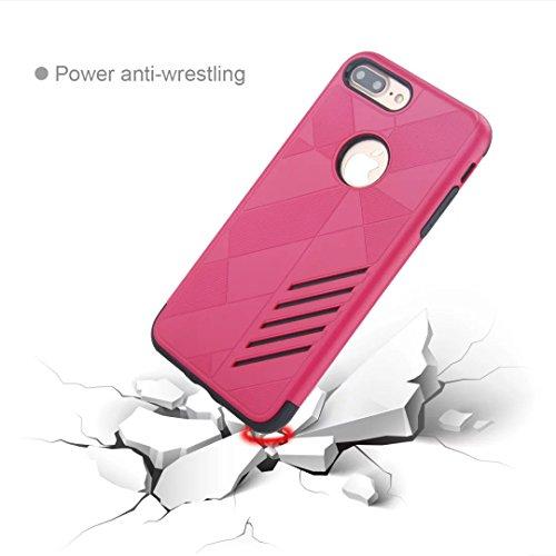 """MOONCASE iPhone 7 Plus Coque, Combo Housse Hybride TPU +PC Etui Antichoc Anti Dérapant Robuste Protection Dual Layer d'Armure Lourde Case pour iPhone 7 Plus 5.5"""" Noir Rose Rouge"""