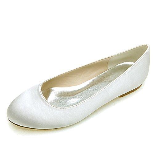 Elobaby Frauen Hochzeitsschuhe RT-F14 Low Heel Satin weiße Elfenbein Spitze Flache Perle/0.6cm Ferse Low Heel Satin-heels